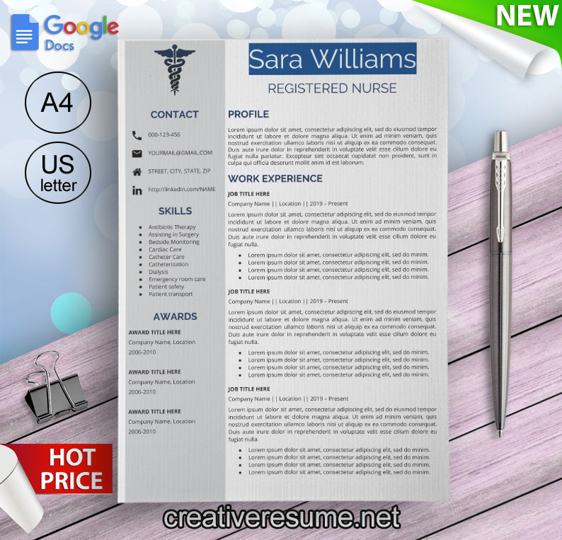 nurse resume template for Google Docs
