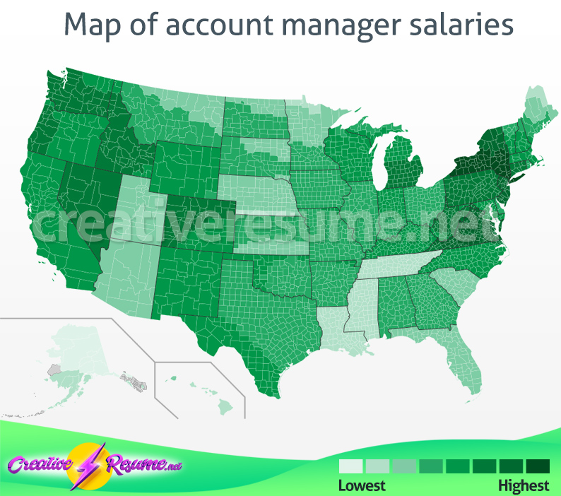 Map of account manager salaries
