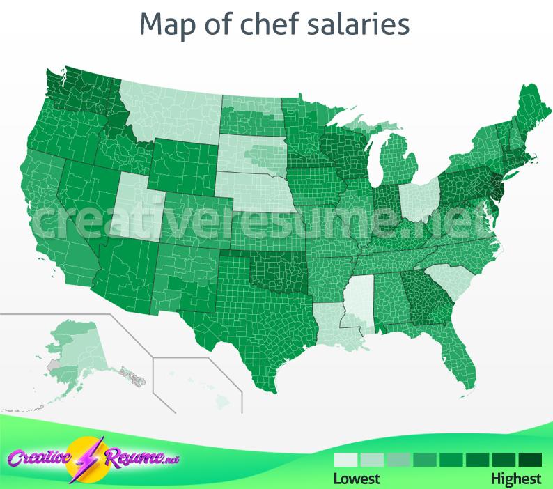 Map of chef salaries