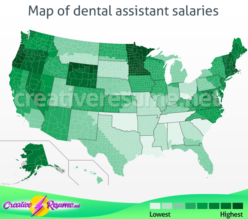 Map of dental assistant salaries