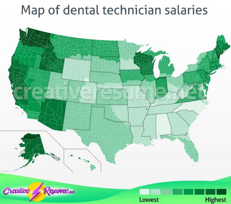 Map of dental technician salaries