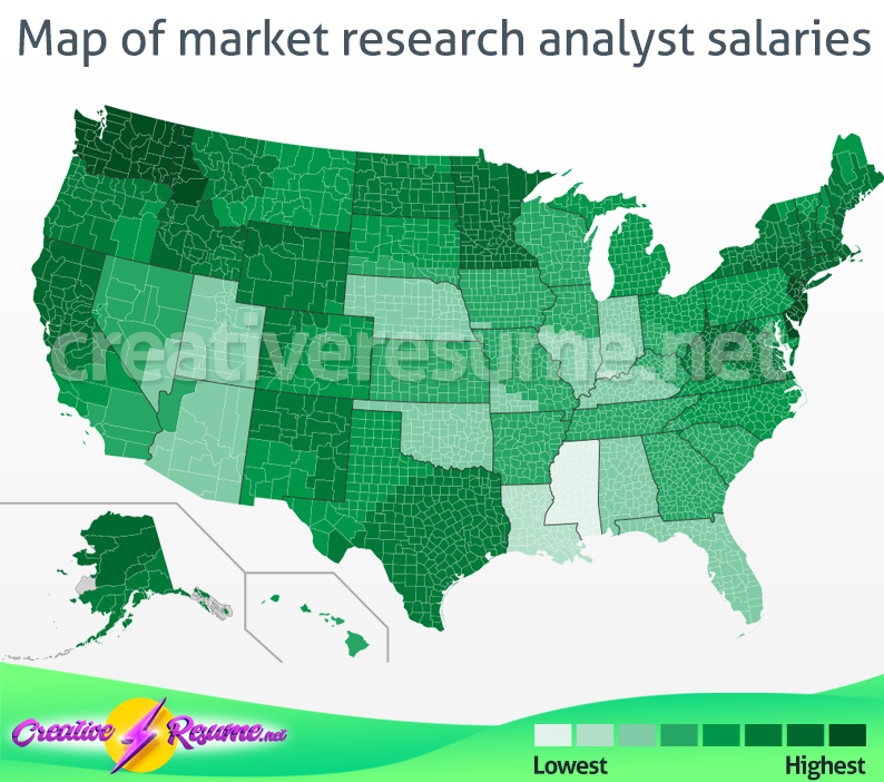 Map of market research analyst salaries