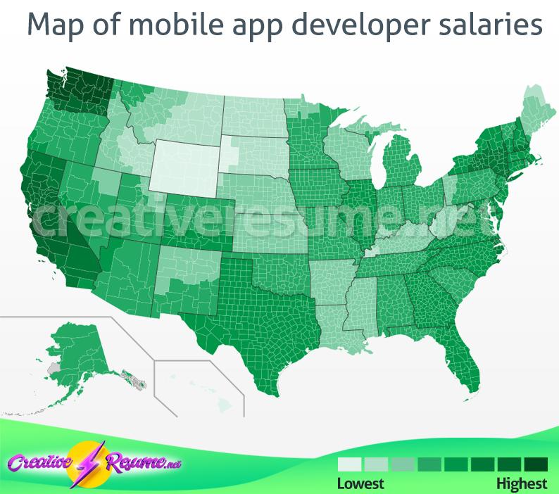 Map of mobile app developer salaries