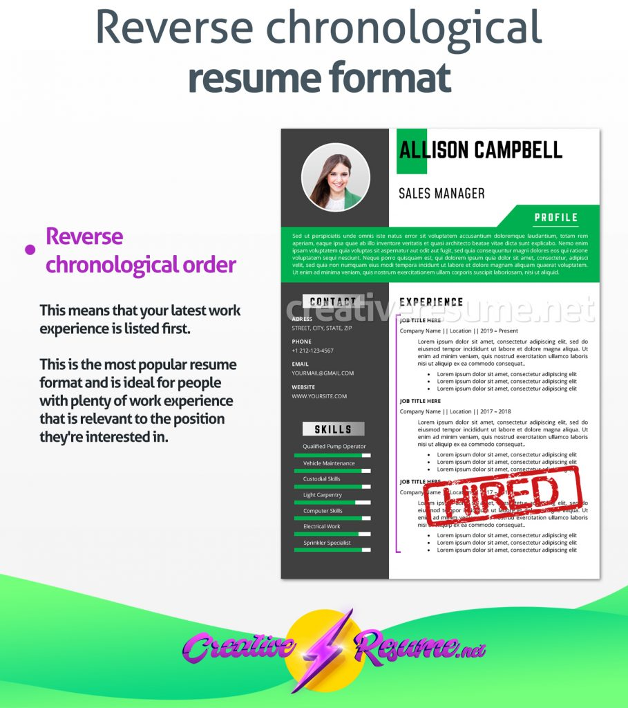 reverse chronological format flight attendant resume