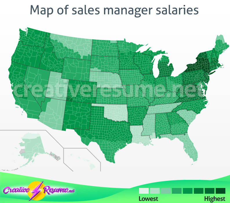Map of sales manager salaries