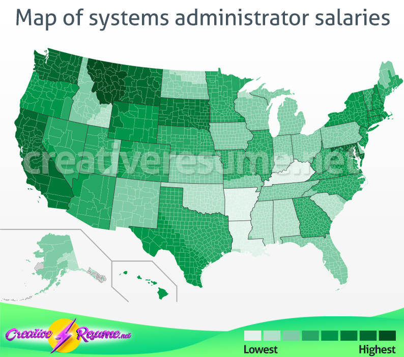 Map of systems administrator salaries