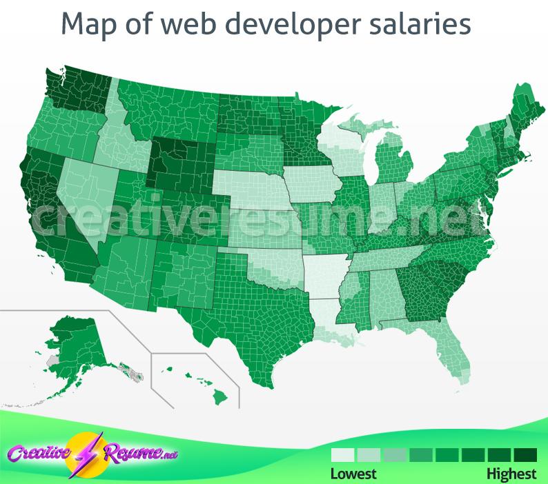Map of web developer salaries